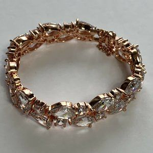 NEW Rose Gold Tone Bracelet Clear Crystals